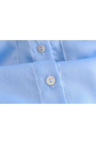 Classic Long Sleeve Lapel Collar Button Down Shirt with Double Pockets
