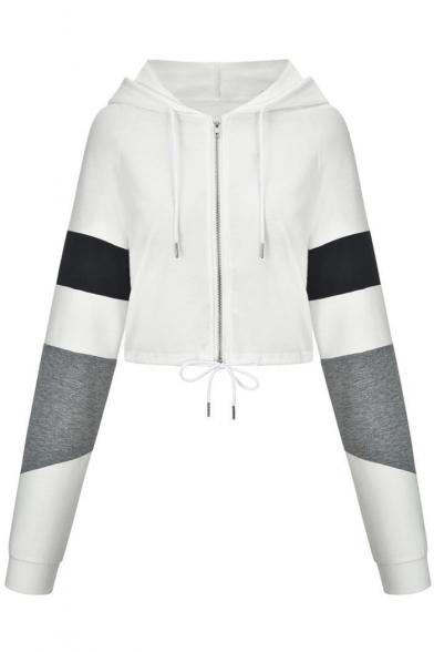 Colorblock Long Sleeve Drawstring Hem Zipper Placket Hooded White Cropped Coat