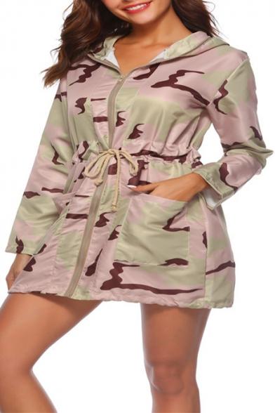 Cool Long Sleeve Zip Front Camouflage Drawstring Waist Hooded Tunics Coat