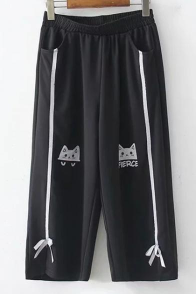 Elastic Waist Bow Embellished Cartoon Cat Printed Black Wide-Leg Loose Fitted Pants