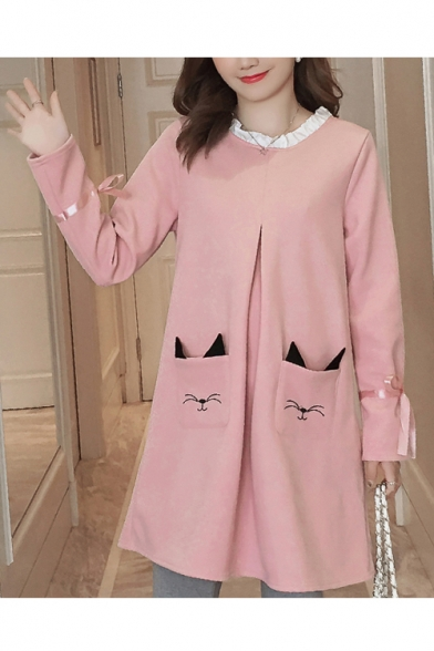 Fashion Contrast Ruffle Round Neck Long Sleeve Cute Cartoon Cat Pocket Mini Swing Dress