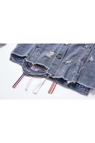 Fashion Letter Ribbon Patched Back Ripped Detail Fringed Hem Blue Denim Jacket