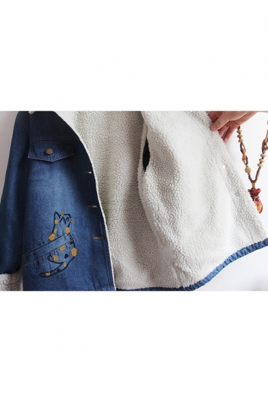 Lovely Cartoon Cat Embroidered Long Sleeve Single Breasted Lamb Wool Denim Jacket