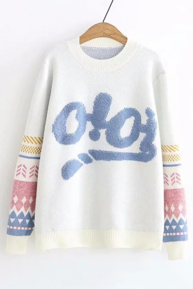 Купить со скидкой New Fashion Letter OIOI Geometric Pattern Round Neck Long Sleeve Loose Sweater