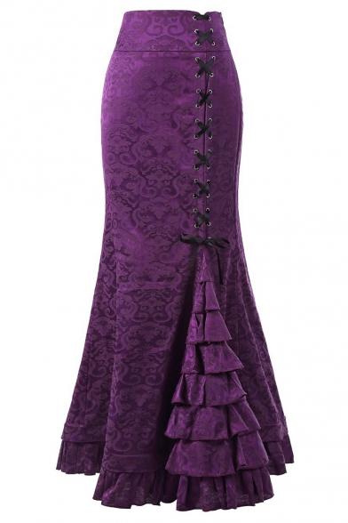 Купить со скидкой New Trendy Chic Floral Printed Fashion Lace-Up Side Layered Ruffle Hem Maxi Retro Fishtail Skirt