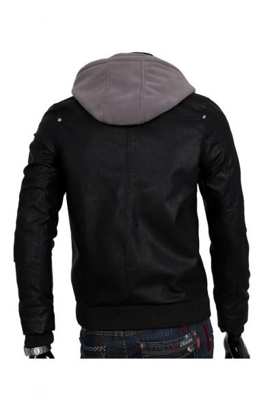 Trendy Gray Hood Patchwork Long Sleeve Multi-Zip Embellished PU Zip Up Black Coat