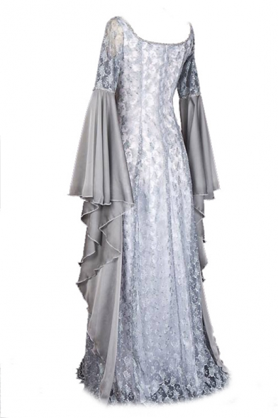 Unique Flare Long Sleeve Scoop Neck Lace Patched Asymmetrical Maxi White Dress