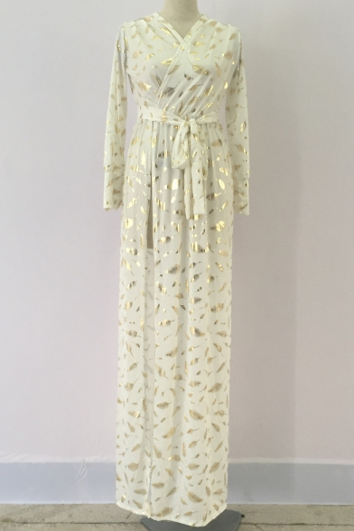 Unique Gold Feather Printed Long Sleeve Surplice V-Neck Tied Waist Split Front Maxi White Evening Dress