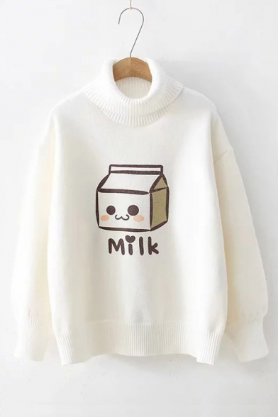 Baycheer / White Cartoon Milk Bottle Pattern Turtleneck Long Sleeve Pullover Sweater