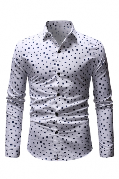 White Geo Print Basic Collar Button Closure Long Sleeve Slim Shirt