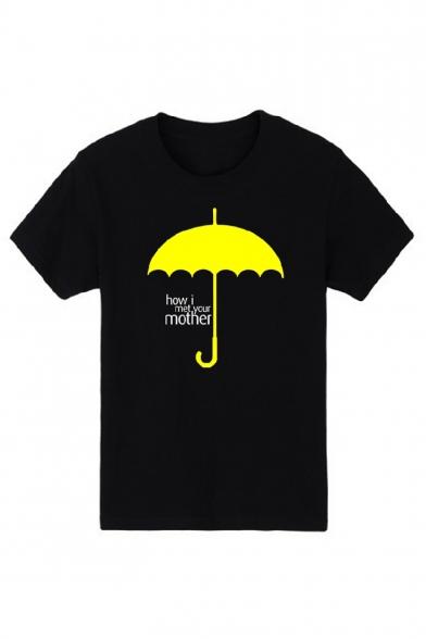 Желтый зонт Письмо печати короткий рукав круглый шеи тройник для юниоров