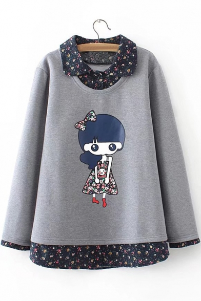 Image of 1 Cartoon Character Printed Long Sleeve Lapel Collar Fake Two Piece Sweatshirt