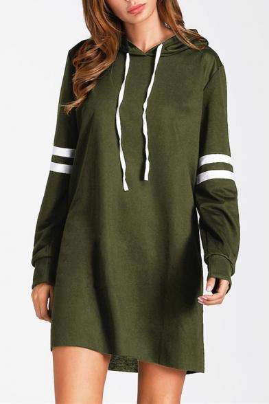Fashion Stripes Printed Long Sleeve Shift Mini Hoodie Dress