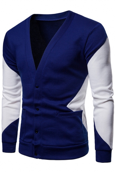 Baycheer / Gentlemen Fashion V-Neck Royal Blue and White Long Sleeve Slim Fit Button Closure Double Pockets Cardigan