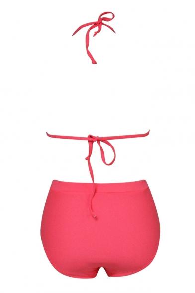 Hot Sexy Style Halter Stripes Printed Top High Waist Bottom Bikini Set
