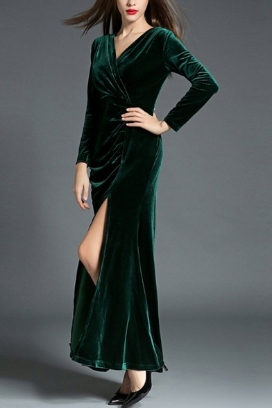 Ladies' Graceful Wrap V-Neck Long Sleeve Ruched Detail Split Front Velvet Maxi Party Dress