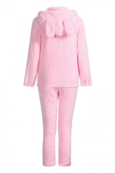 Stylish Long Sleeve Cartoon Printed Hoodie Pink Pajamas Co-ords