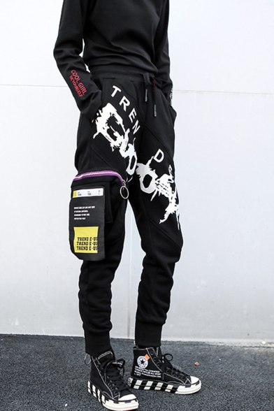Unique Hip Hop Style Drawstring Waist Letter Printed Black Sports Pants with Pocket
