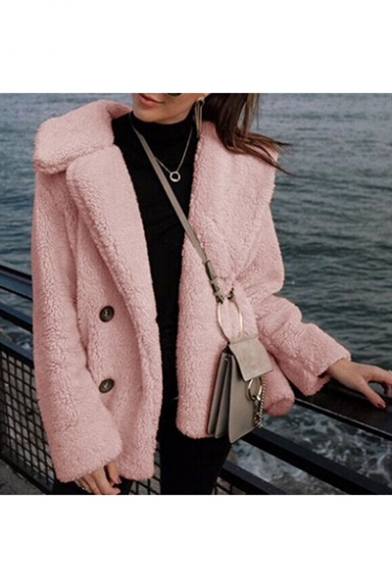 Winter's Long Sleeve Lapel Collar Double Buttons Plain Fleece Coat