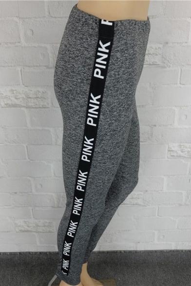 Women's Elastic Waist Letter PINK Printed Webbing Side Skinny Gray Leggings