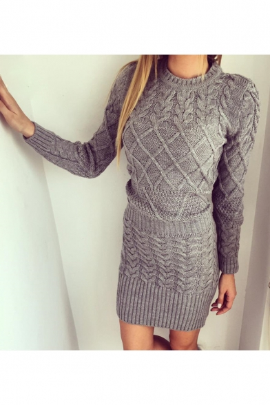 Women's New Arrival Round Neck Long Sleeve Solid Cable-Knitted Mini Sheath Sweater Dress