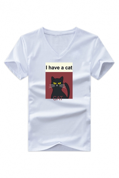 Adorable White Cat Print Cartoon V Neck Short Sleeves Casual Tee