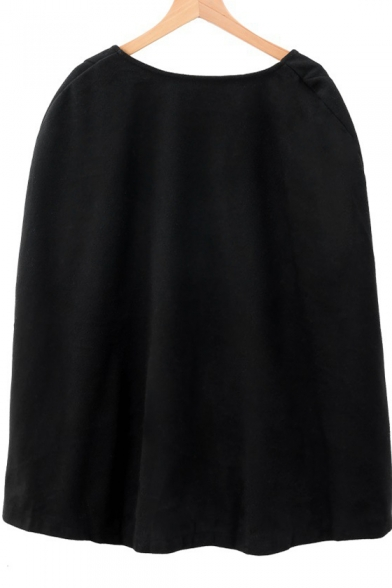 Black Loose Plain Button Down Leisure Tunics Cape Coat