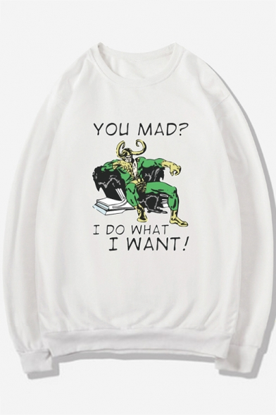 Cartoon Letter YOU MAD I DO WHAT I WANT Print Round Neck Long Sleeve Sweatshirt