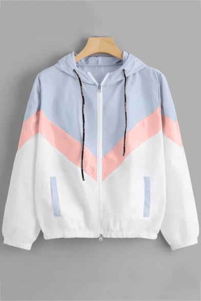 Colorblock Long Sleeve Zip Placket Elastic Hem t Light Blue Coat
