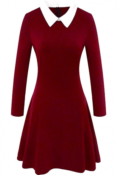 Contrast Collar Zip Back Long Sleeve Fit and Flare Dress