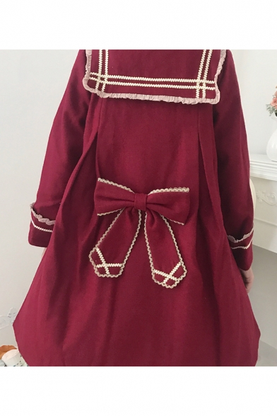 Cute Contrast Trim Bow Embellished Single Breasted Long Sleeve Navy Collar Burgundy Lolita Woolen Coat