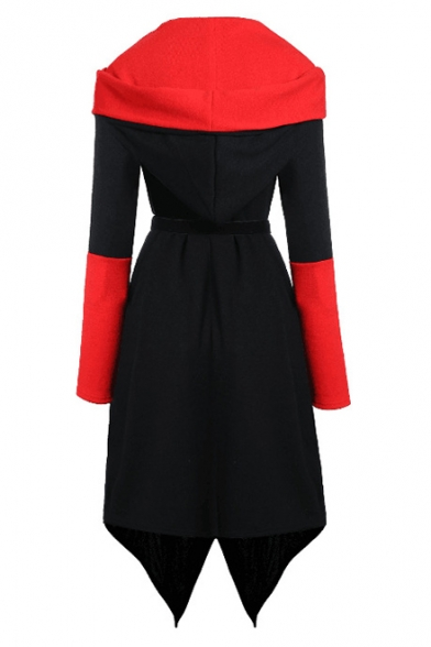 Fashion Black And Red Colorblock Long Sleeve Hooded Tied Waist A-Line Hip Hop Midi Dress