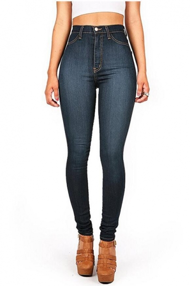 Hot Fashion High-Rise Basic Solid Stretch Skinny Fit Jeans for Women