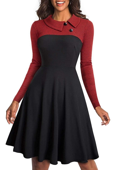 Hot Fashion Plaid Patchwork Long Sleeve Lapel Collar Button Embellished Midi A-Line Pleated Dress