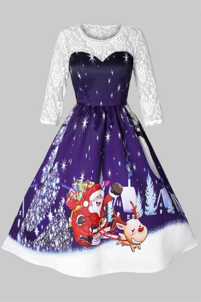 Long Sleeve Lace Patched Round Neck Santa Claus Printed Midi A-Line Dress