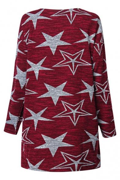Loose Star Printed Long Sleeve Round Neck Leisure Mini Shift Dress