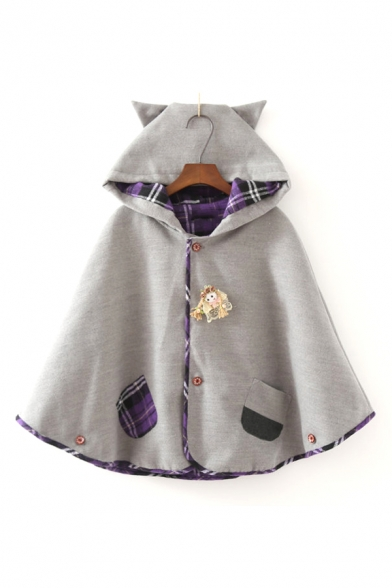 Lovely Cartoon Doll Embellished Plaid Patchwork Cat Ear Hooded Cape Coat for Juniors