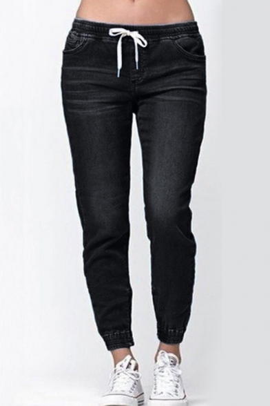 New Arrival Hot Fashion Drawstring Waist Elastic Cuffs Tapered Jeans
