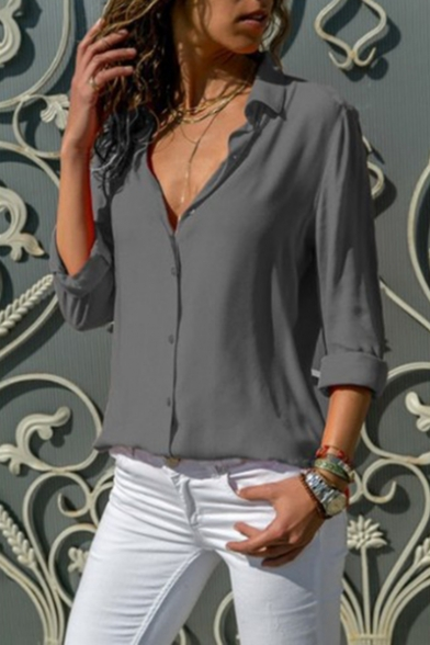 Office Lady Long Sleeve Lapel Collar Plain Button Down Chiffon Shirt