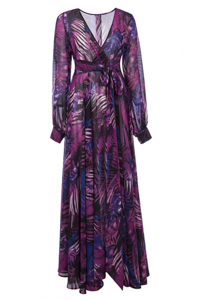 Plunge V Neck Long Lantern Sleeve Leaf Printed Maxi Fit & Flare Dress
