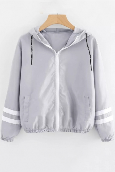 Striped Long Sleeve Zip Closure Leisure Casual Sports Hooded Coat
