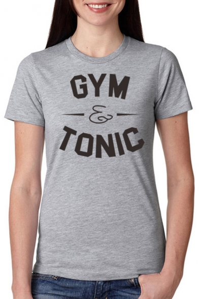 Stylish Short Sleeve Round Neck Letter GYM TONIC Printed Slim Gray Cotton Tee
