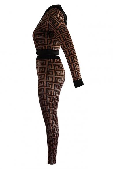Unique Geometric Printed Long Sleeve Cropped Hoodie Sports Drawstring Pants Velvet Co-ords