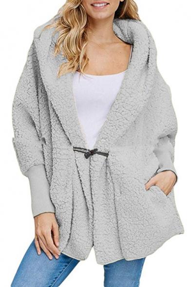 Women's Winter Shearling Hooded Long Sleeve Single Toggle Solid Warm Coat