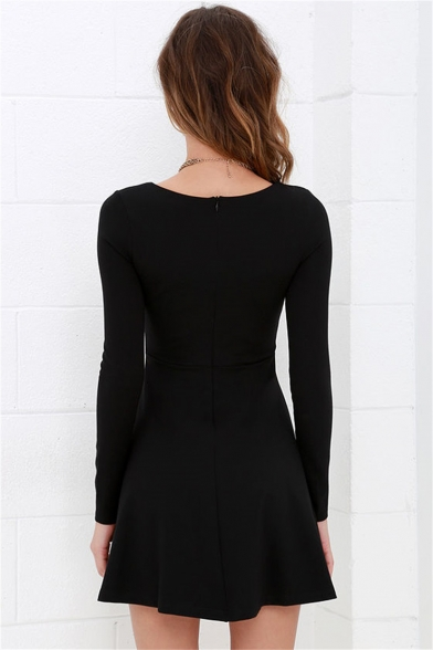 Basic Plain Round Neck Long Sleeve Zip Back Mini A-Line Little Black Dress