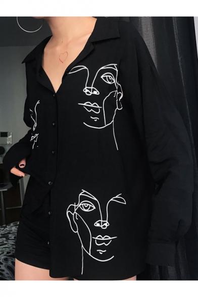 Cartoon Abstract Figure Printed Lapel Collar Long Sleeve Boyfriend Loose Button Shirt