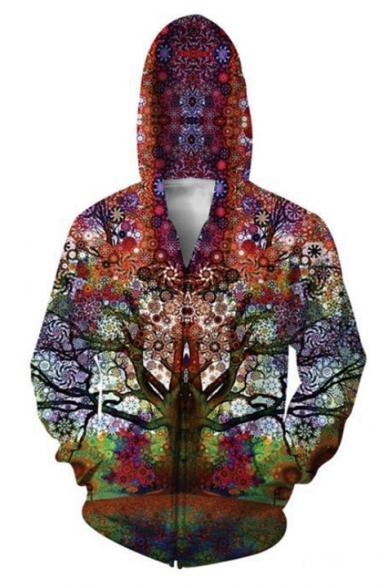 Charming Tree 3D Digital Long Sleeve Zip Front Red Hoodie