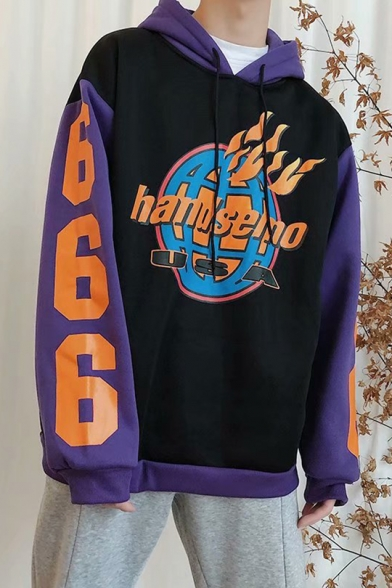 Cool Fire Letter HANDSEMO USA Print Number 666 Long Sleeve Colorblock Oversized Hoodie