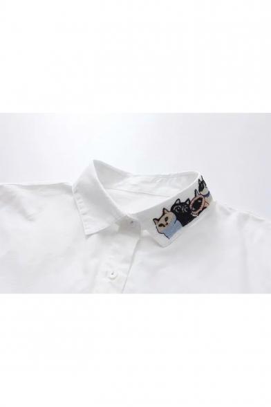 Cute Cartoon Cat Embroidered Collar Long Sleeve White Button Down Shirt