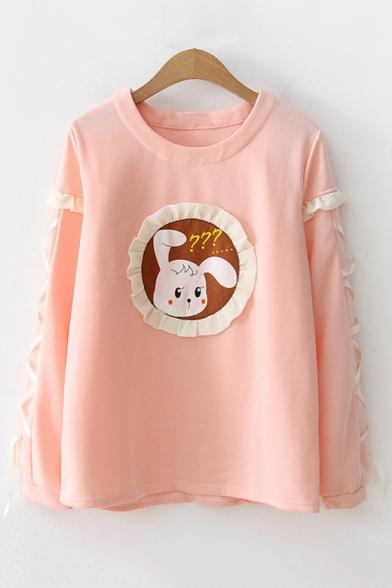 Cute Cartoon Rabbit Print Fashion Lace-Up Long Sleeve Crewneck Loose Fit Sweatshirt